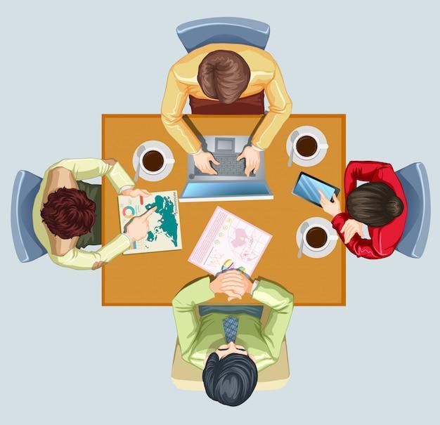 Vier personen treffen sich am tisch Kostenlosen Vektoren