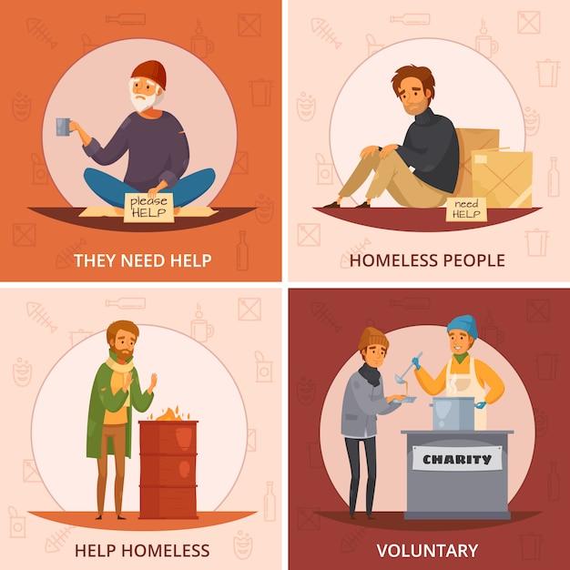 Vier quadrate cartoon obdachlosen symbol gesetzt mit sie brauchen hilfe freiwillige und andere beschreibungen Kostenlosen Vektoren