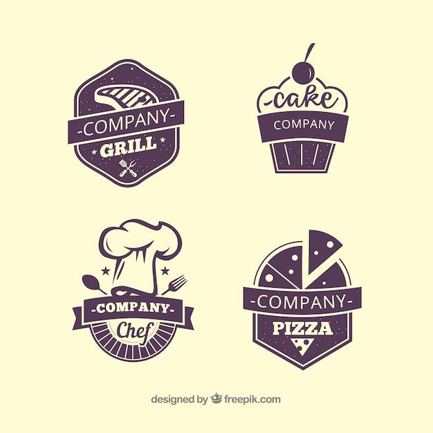 Vier Restaurant-Etiketten Kostenlose Vektoren