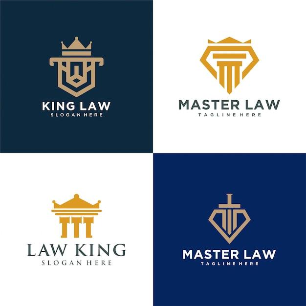 Vier rundes gesetz logo einfach Premium Vektoren