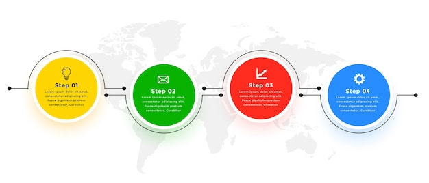 Vier schritte moderne kreisförmig verbundene infografik-vorlage Kostenlosen Vektoren