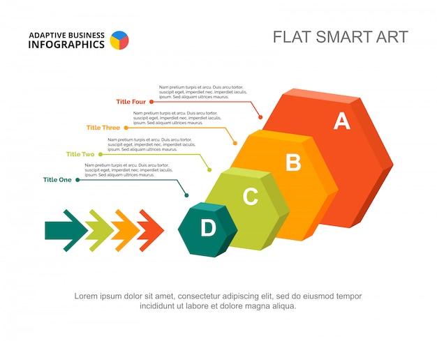 Vier Sechseck Infographik. Editierbare Vorlage für Prozessdiagramm ...
