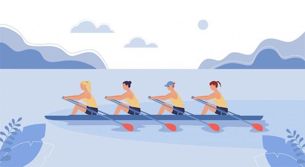 Vier sportlerinnen schwimmen auf einem boot. Premium Vektoren