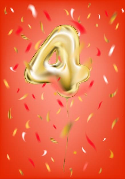 Vier-stellige konfetti aus festlichem goldballon Premium Vektoren