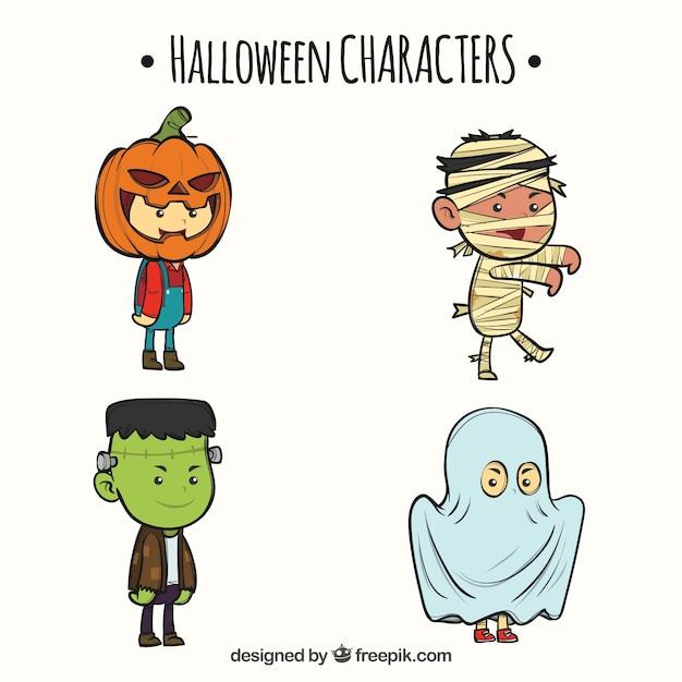 Vier Süße Hand Gezeichnete Halloween Figuren Download Der
