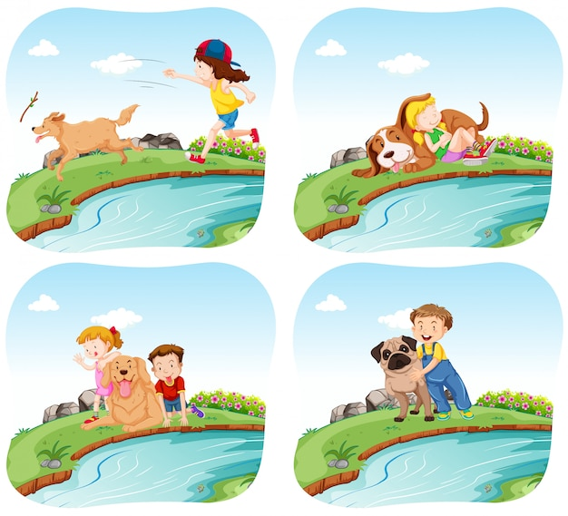 Vier szenen mit kindern und hunden Kostenlosen Vektoren