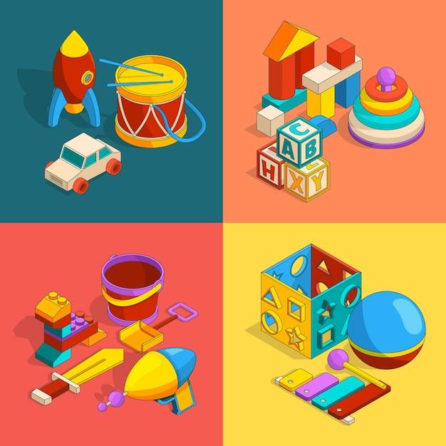 Vier thematische gruppen von vorschulkinderspielzeug. Premium Vektoren