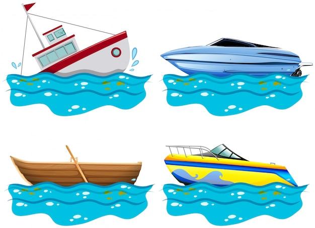 Vier verschiedene arten von booten Kostenlosen Vektoren