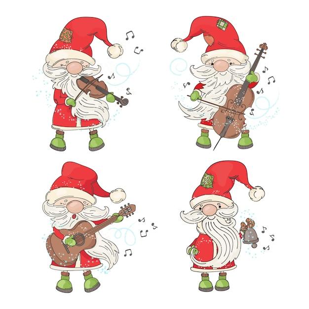 Vier weihnachtsmann frohe weihnachten Premium Vektoren