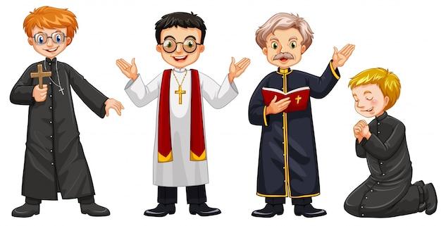 Vier zeichen der priester illustration Kostenlosen Vektoren