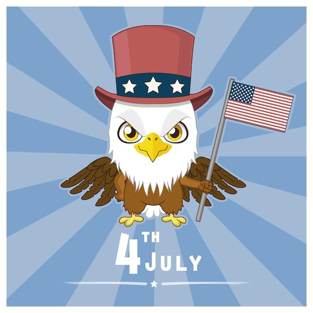Vierte juli-bakcground mit adler Kostenlosen Vektoren