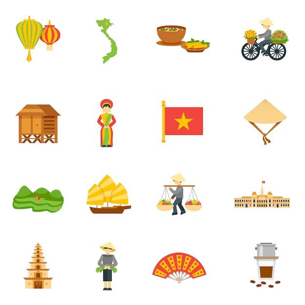 Vietnam icons set Kostenlosen Vektoren