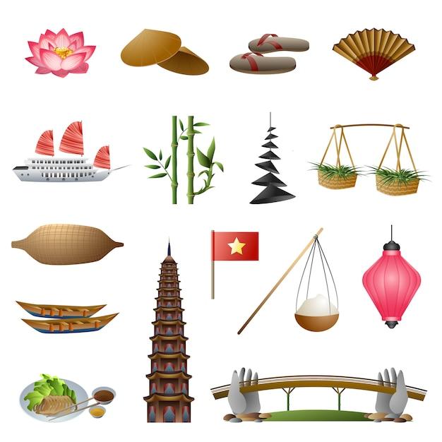 Vietnam icons set Premium Vektoren
