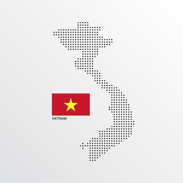 Vietnam-kartenentwurf mit flaggen- und hellem hintergrundvektor Kostenlosen Vektoren