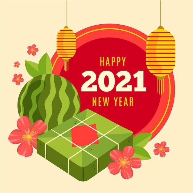 Vietnamesisches neujahr 2021 handgezeichnet Kostenlosen Vektoren