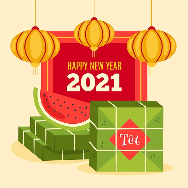 Vietnamesisches neujahr 2021 mit wassermelone Kostenlosen Vektoren