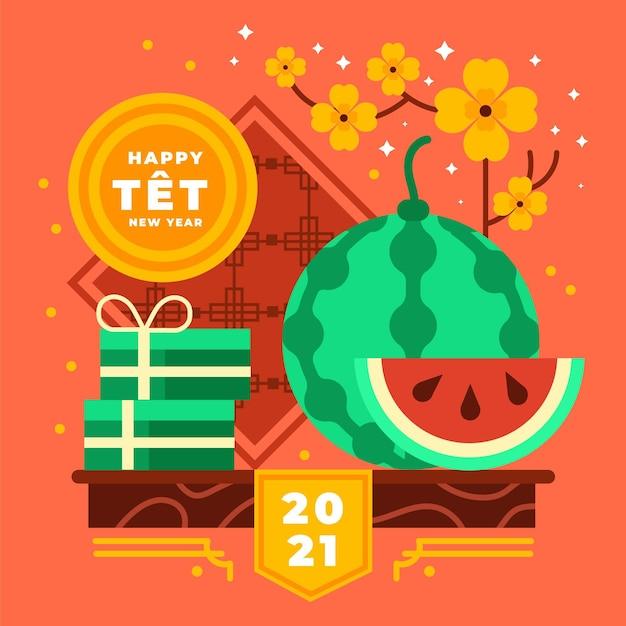 Vietnamesisches neujahr 2021 und aprikosenblüten Kostenlosen Vektoren