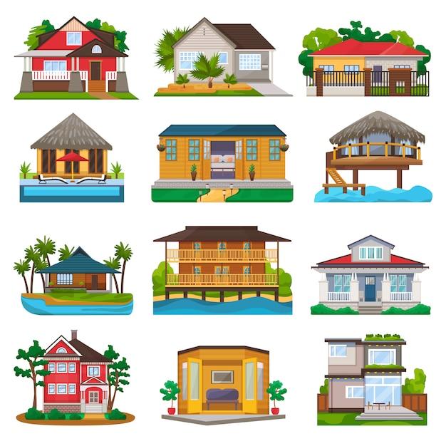 Villa vektorfassade des hausbaus und des tropischen resorthotels am ozeanstrand im paradiesillustrationssatz des bungalows im dorf lokalisiert auf weiß Premium Vektoren