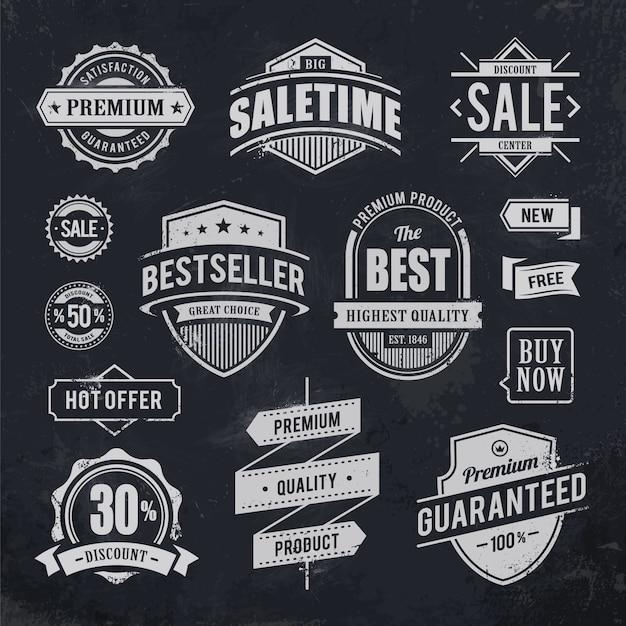 Vintage abzeichen sammlung Kostenlosen Vektoren