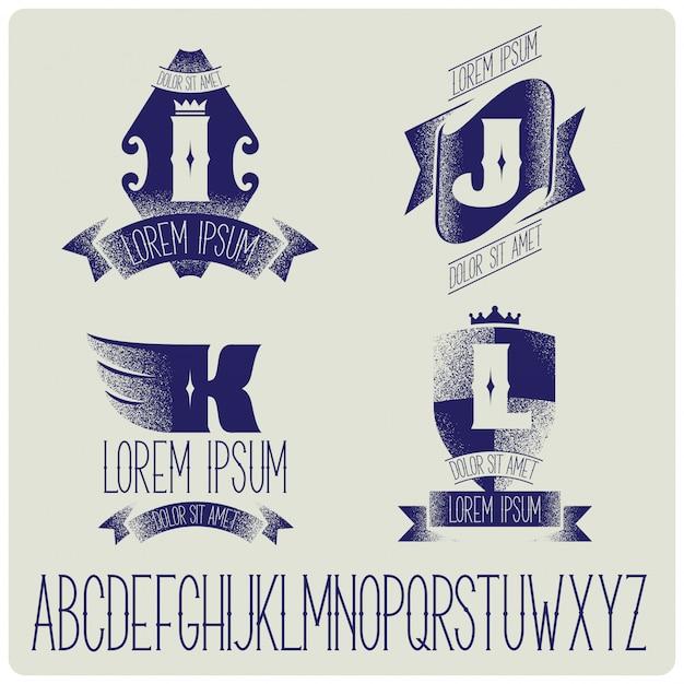 Vintage abzeichen vorlagen mit alphabet gesetzt Kostenlosen Vektoren