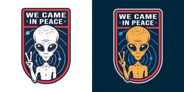 Vintage alien abzeichen set Kostenlosen Vektoren