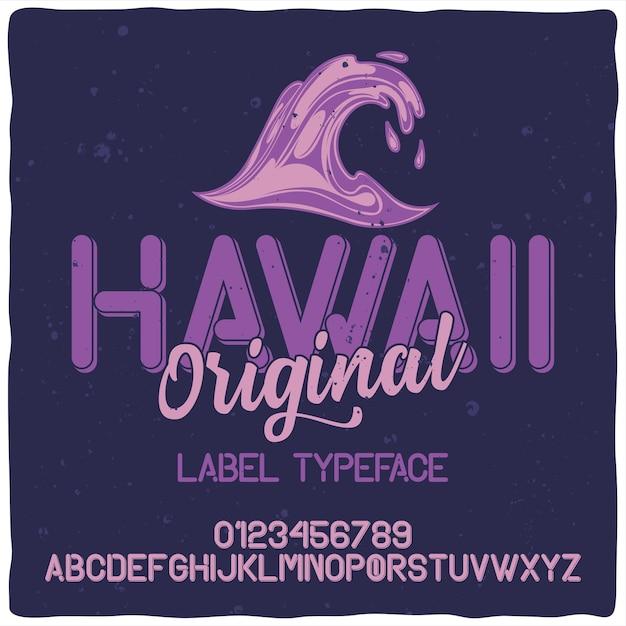Vintage alphabet schrift namens hawaii. Kostenlosen Vektoren