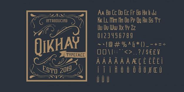 Vintage alphabet schriftart Premium Vektoren