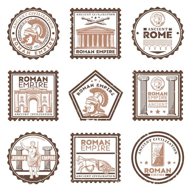 Vintage alte rom zivilisation briefmarken mit inschriften gladiator schwerter schild triumphbogen gesetzt Kostenlosen Vektoren