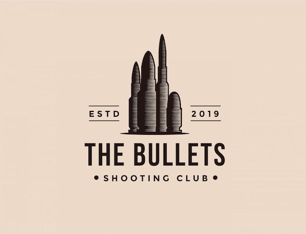 Vintage ammo kugeln schießen club logo vorlage Premium Vektoren