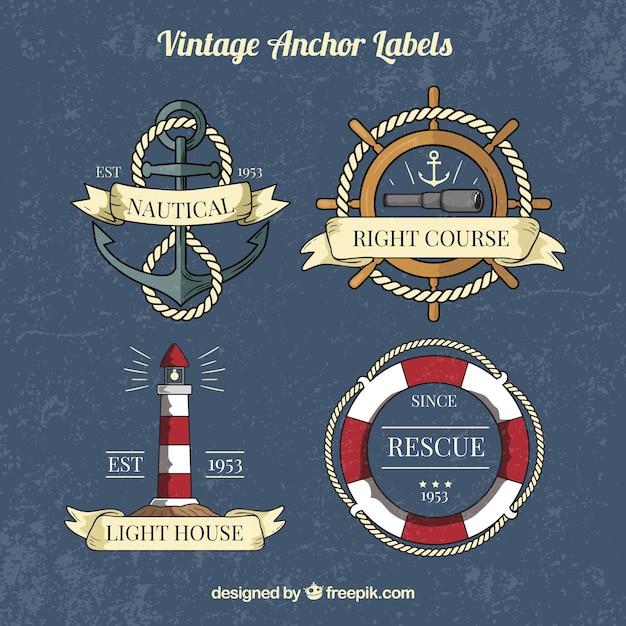 Vintage anker label sammlung Kostenlosen Vektoren