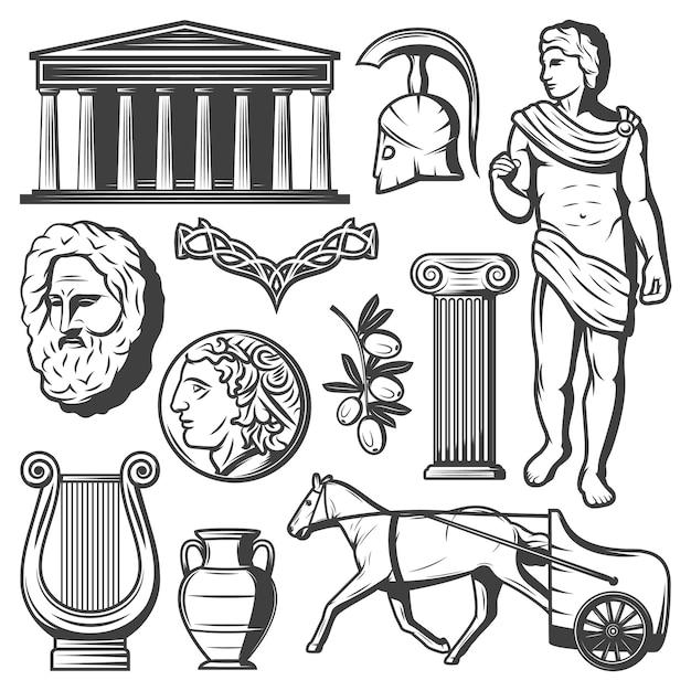 Vintage antike griechenland elemente set Kostenlosen Vektoren