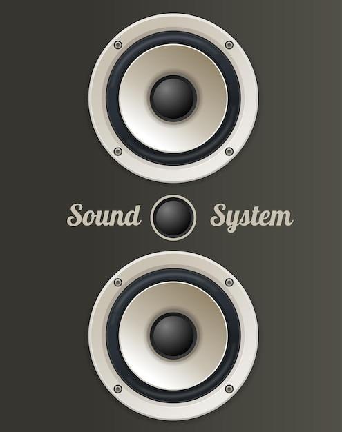 Vintage audio lautsprecherset. das konzept des soundsystems Premium Vektoren