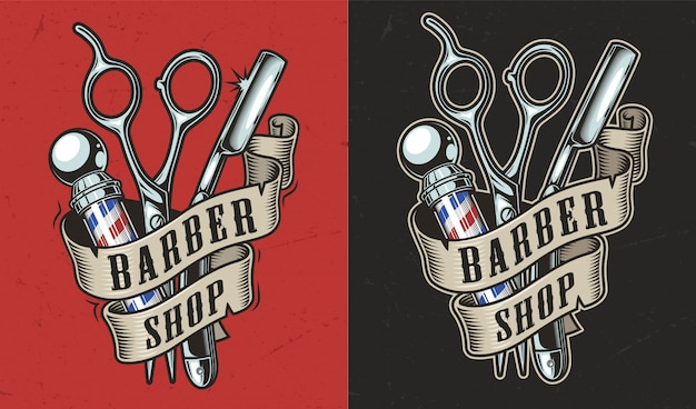 Vintage barbershop label Kostenlosen Vektoren
