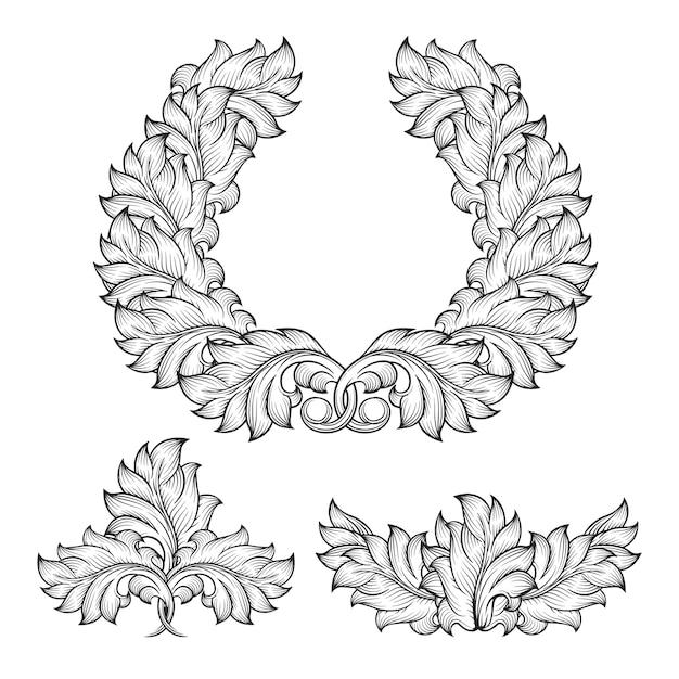 Vintage barock blumenblatt scroll ornament gravur rahmen element set. dekorativer viktorianischer retro abstrakter entwurfsstil, Kostenlosen Vektoren