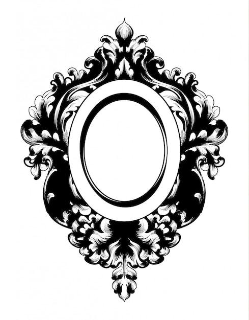 Vintage barockspiegelrahmen Premium Vektoren