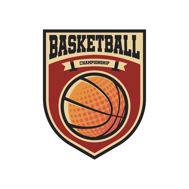 Vintage basketball-logo Premium Vektoren