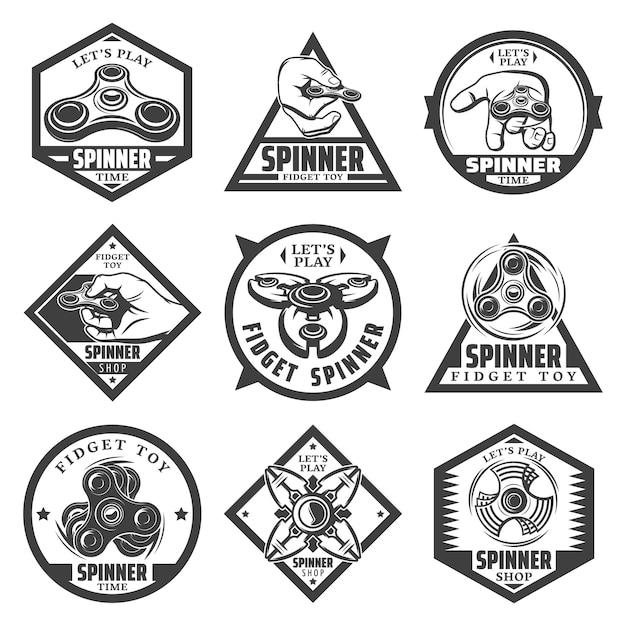 Vintage beliebte spinner-etiketten mit inschriftenhänden, die trendige spielzeuge und verschiedene arten moderner geräte drehen, isoliert Kostenlosen Vektoren