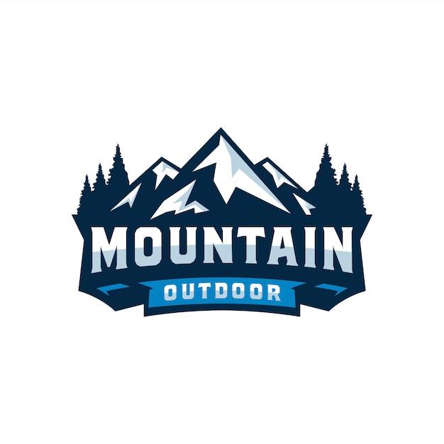 Vintage berg logo design illustration Premium Vektoren