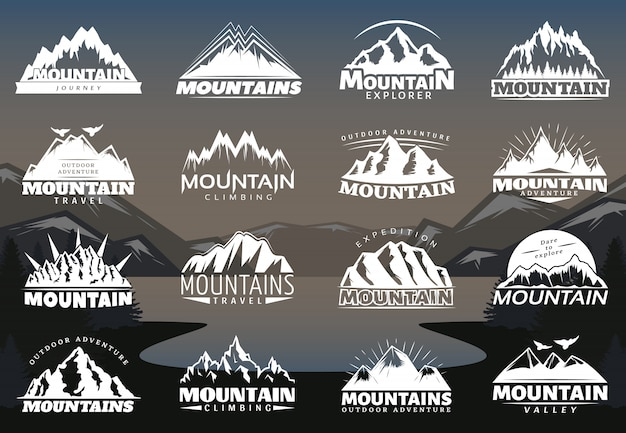 Vintage berge logos Kostenlosen Vektoren