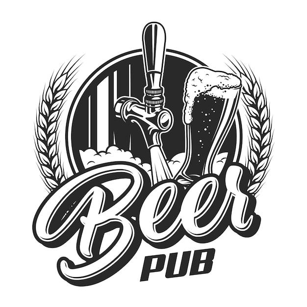 Vintage bier pub emblem Kostenlosen Vektoren