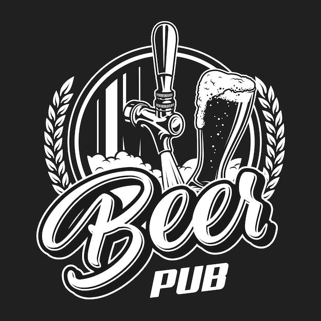 Vintage bier pub logo konzept Kostenlosen Vektoren