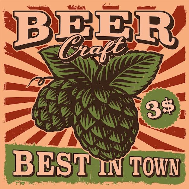 Vintage bierplakat mit einer bier hopfenillustration Premium Vektoren