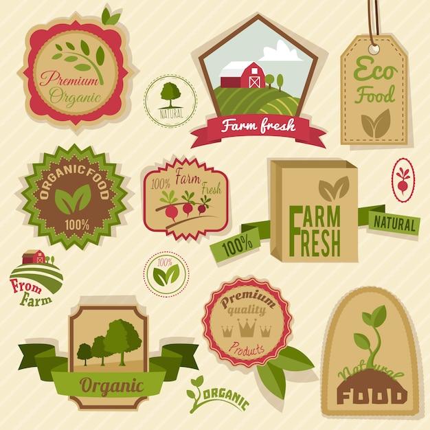 Vintage bio-etiketten Premium Vektoren