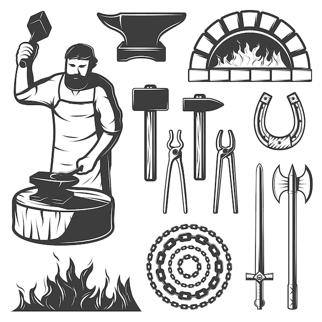 Vintage blacksmith elements set Kostenlosen Vektoren