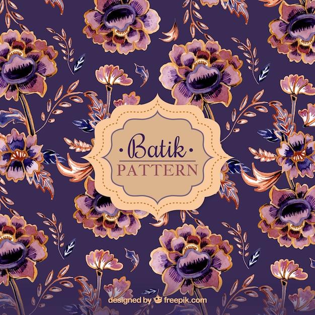Vintage-blumenmuster in batik-stil Kostenlosen Vektoren