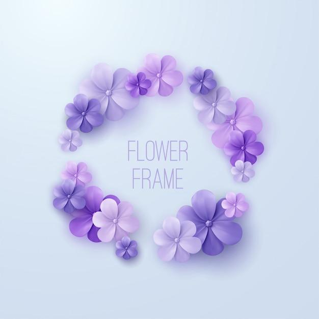 Vintage blumenrahmen. von lila blumengirlande. dekorationselement für hochzeitseinladung. Premium Vektoren