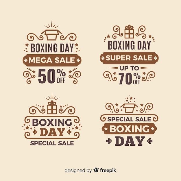 Vintage boxing day sale abzeichen sammlung Kostenlosen Vektoren