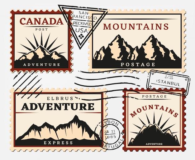 Vintage briefmarken set Kostenlosen Vektoren