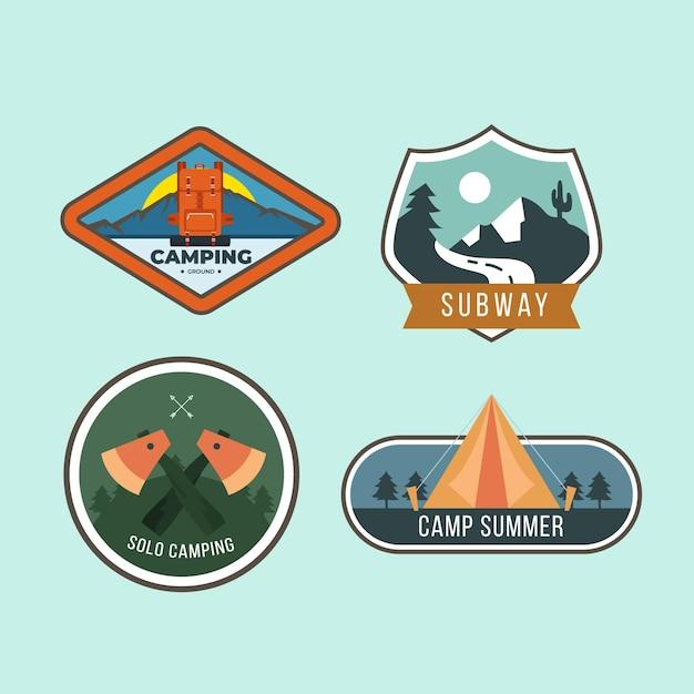 Vintage camping & abenteuer abzeichen gesetzt Kostenlosen Vektoren