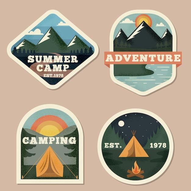 Vintage camping & abenteuer abzeichen sammlung Premium Vektoren